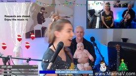 Baby V the mic thief!