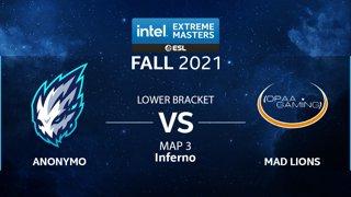 CS:GO - Anonymo vs. MAD Lions [Inferno] Map 3 - IEM Fall Closed Qualifiers 2021 - EU