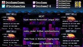 Week 1, Noble Foxes (nobly, Krithel) vs Shaktool's Digging Game (azder, polarbearbunny). Super Metroid Rando League Season 3