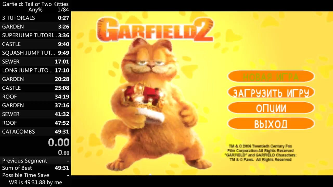 Any In 46m 22s 990ms By Fapman Garfield A Tail Of Two Kitties Speedrun Com