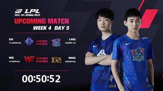 ES vs. LNG | WE vs. RNG  - Week 4 Day 5 | LPL Spring Split (2021)