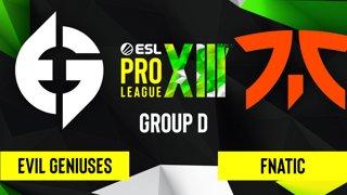 CS:GO - Evil Geniuses vs. Fnatic [Mirage] Map 3 - ESL Pro League Season 13 - Group D