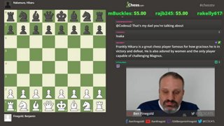GM Ben Finegold's only slow rated game vs. Hikaru Nakamura from US Open 2008