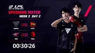 OMG vs. FPX | RW vs.TES  - Week 2 Day 2 | LPL Spring Split (2021)