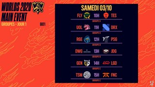 WORLDS 2020 - GROUP STAGE - JOUR 1