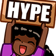 twitchdevHype. Static animation setting, light theme mode, 3.0 scale.
