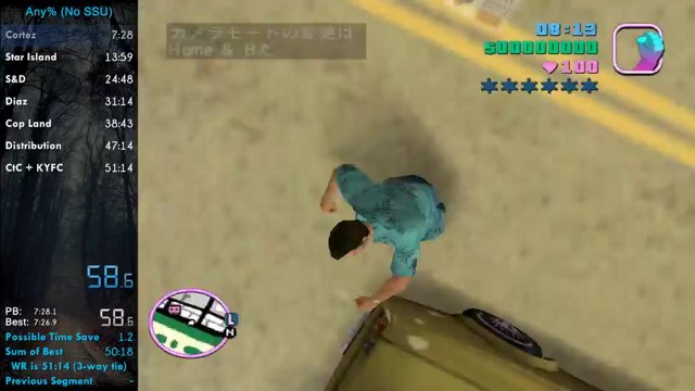 WR] Grand Theft Auto: Vice City Any% No SSU in 50:45 by