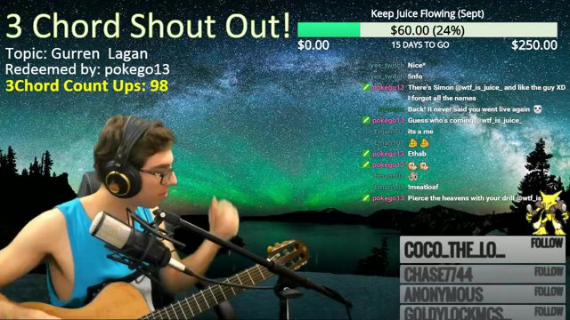 WTF_Is_Juice_ - 3 Chord Shout Out! Topic: Gurren Lagan - Twitch