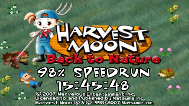 WR] Harvest Moon: Back to Nature 98% in 15:45:48 : speedrun