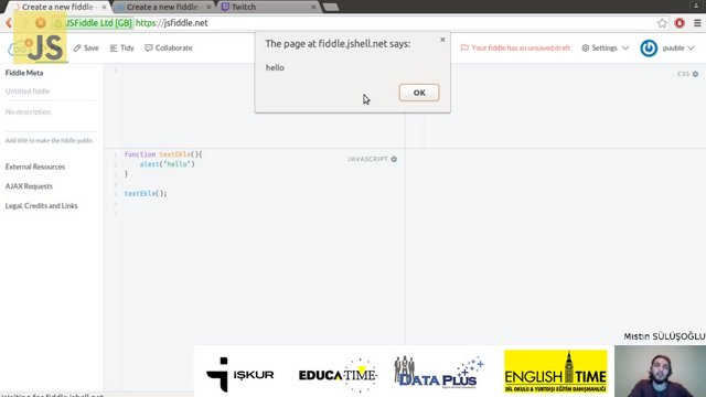 javascript functionlara variable atama
