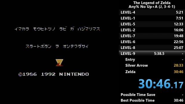 Zelda Any% No Up+A (FC) PB 30:09