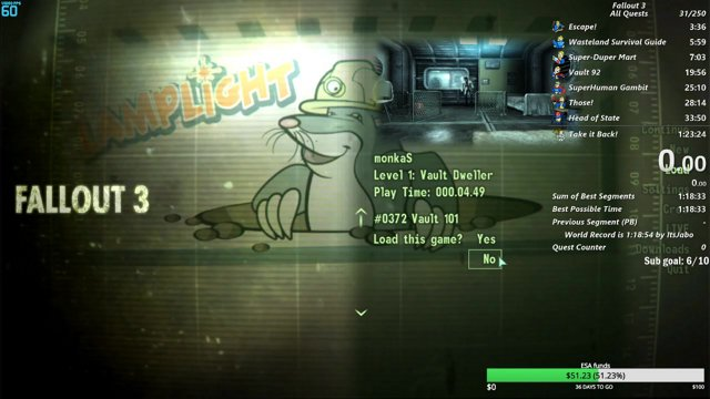 noobsalmon fallout 3 all quests speedrun in 1 23 10 pb twitch