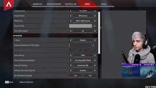 video settings for apex