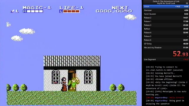 Zelda 2 Any% No Scroll Lock in 50:10