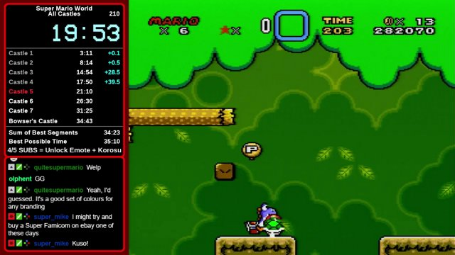 Super Mario World, All Castles PB Speedrun [34:40 - 2/11/18]