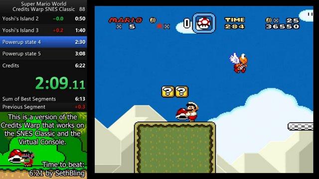 Super Mario World SNES Classic credits warp - 6:14 85 by
