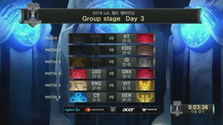 2018 LoL World Championship 그룹 스테이지 Day 3
