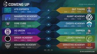 OCS 2019 WEEK 8 -UTS v QUT, MMA v AVA, DC v CFA, UQU v EMP, ORA v LGG, B52 v GRVA