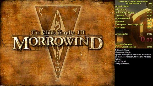 Morrowind House Telvanni Speedrun in 24:02 (no loads)