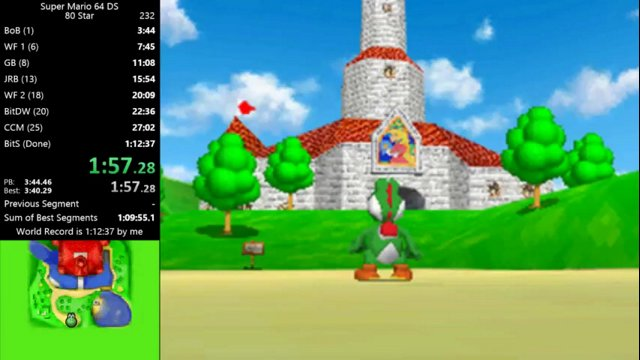 Super Mario 64 DS - 3:39 BoB Segment Using Rabbit Glitch (80 Star)