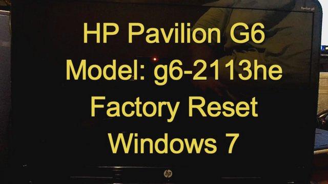 factory reset hp pavilion g6