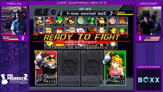 Smash Melee Tournament - FireflyHI (Captain Falcon) Vs. Vincessant (Peach) Poi Poundaz 2 SSBM Singles Losers Quarterfinals