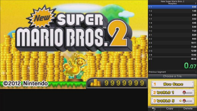 New Super Mario Bros  2 - Warpless in 48:38
