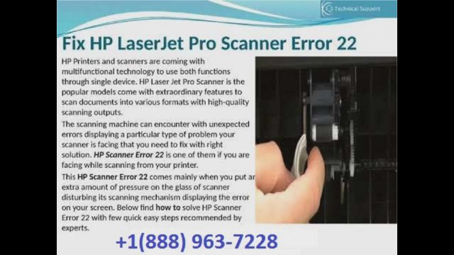 How to Fix HP Laserjet Pro Scanner Error 22? Toll-Free: +1(888) 963-7228