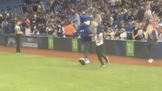 Gail Kim Throws Out First Pitch At Blue Jays Game!