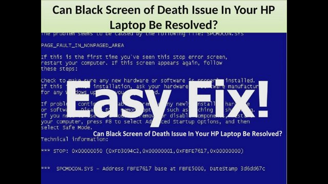 Can Black Screen of Death Issue In Your HP Laptop Be Resolved?